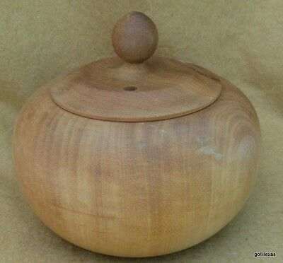 """Vintage Hand Turned Wood Box Round with Lid 5"""" Diameter 4"""" Tall"""