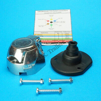 Metal Towing Socket 7 Pin 12N with Gasket Seal & Bolts - Trailer & Horsebox