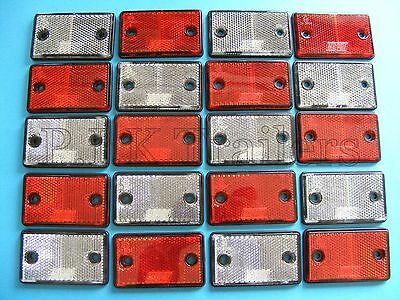 FREE P&P* 20 x Red & White Reflectors for Driveway Gate Fence Posts & Trailers