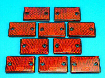 FREE P&P* 10 x Red Oblong Reflectors for Driveway Gate Fence Posts & Trailers