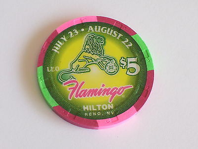 $5 FLAMINGO HILTON RENO NV Casino Poker ZODIAC LEO Chip # 16
