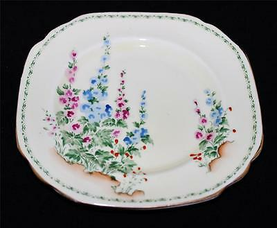 """Crown Staffordshire -F13501 -PINK & BLUE HOLLYHOCK w/GREEN BAND- 6"""" Square Plate"""