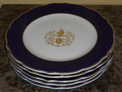 Syracuse China Vintage Dinner Plates with Gold Shield- Set of 5