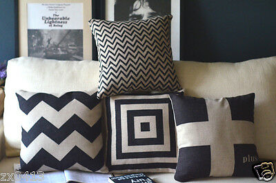 Vintage Country Black Zigzag Home DECOR COTTON LINEN CUSHION COVER PILLOW CASE
