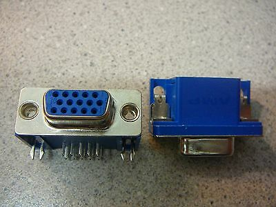 AMP High Density Connector D-Sub Recpt R/A 15-Pos **NEW** 2/PKG