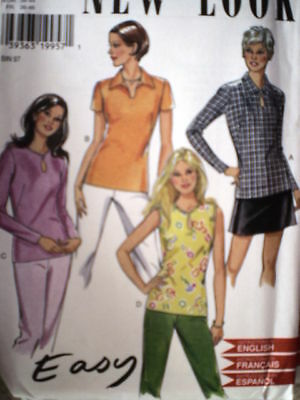 6587 Vintage NEW LOOK SEWING Pattern Misses Top Shirt 8-18 UNCUT OOP FF 1990's