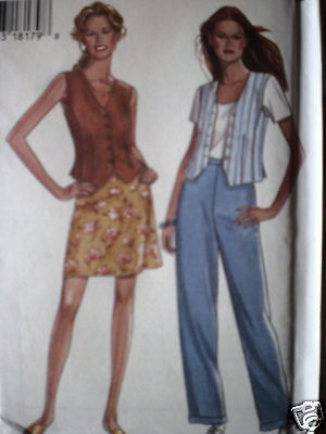 6384 Vintage NEW LOOK SEWING Pattern Misses Vest Skirt 8-18 UNCUT FF OOP NEW FF