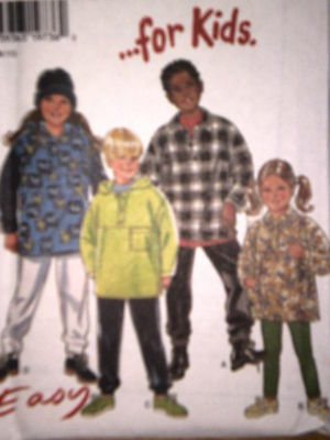 6586 Vintage NEW LOOK Sewing Pattern Kids Hooded Top S M L UNCUT OOP FF SEW