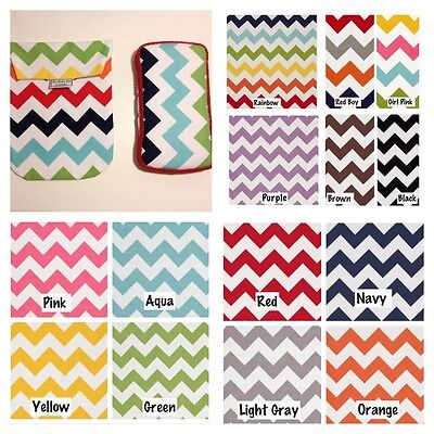 CHEVRON Diaper Pouch AND Matching Wipes Case. 13 Chevron Patterns to choose from