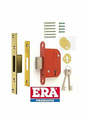 "ERA FORTRESS 76mm (3"") 5 LEVER DEAD LOCK BS BRITISH STANDARD 361-32 BRASS"