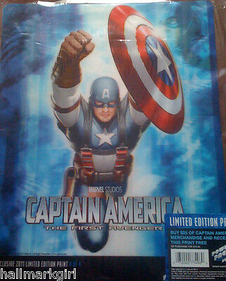 """CAPTAIN AMERICA - 3D - LENTICULAR Poster/Print  """"LIMITED EDITION"""" NEW LOT of 4"""