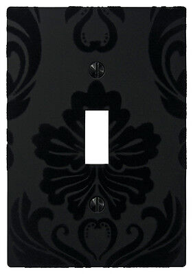 Wallplate Switch Plate & Outlet Covers Flocked Damask BLACK Decorative Light GFI