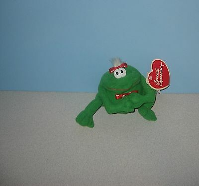"""New 4"""" Valentine's Frog Special Expressions Stuffed Plush w/ Heart Bowtie"""