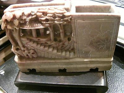 Beautiful Antique Chinese Carved Soapstone Brush Pot? 2 Pot Village Scene Beauty
