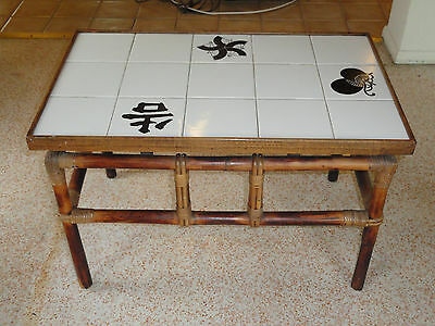RARE 60's FICKS REED RATTAN LARGE TILED COFFEE TABLE / SIDE TABLE #1