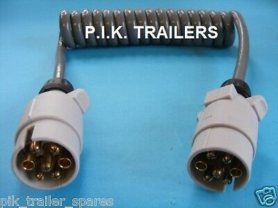 12S 7 Pin Curly Cable 1.5m Extension Lead with 2 x Plugs for caravan electrics #