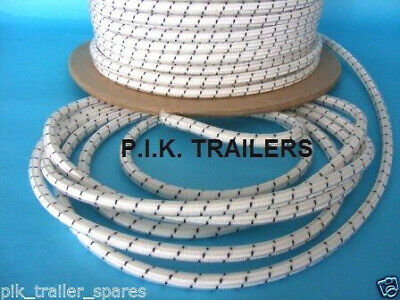 10 metres of 8mm WHITE Elastic Bungee Shock Cord for Trailer Cover Tie Down