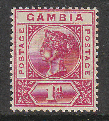 GAMBIA 1898 1d CARMINE WITH REPAIRED 'S' SG 38b MINT.