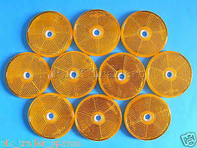 10 x Amber 60mm Hi-Viz Reflectors for Driveway Gate Fence Posts & Trailers  #AJL