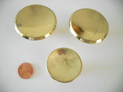 "lot of 3 Vtg BRASS plated Cabinet Knobs Drawer Pulls 2"" & 1-1/2"" concave beveled • CAD $12.60"