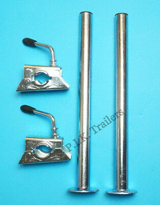 *FREE P&P* 2 x Prop Stands 34mm x 450mm with CLAMPS - Trailer Corner Steady #220