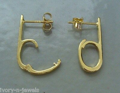 20mm Locking Hooped Stud INTERCHANGEABLE Earring Wires Gold Plated Silver