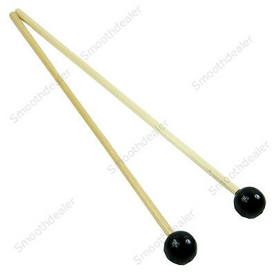 1 Pair Soft Mallets Rubber Head Warm Sound For Bells And Xylophone Black