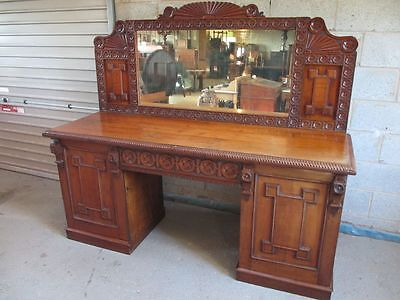 Fantastic Victorian carved geometric Oak mirror back sideboard (ref 1286)