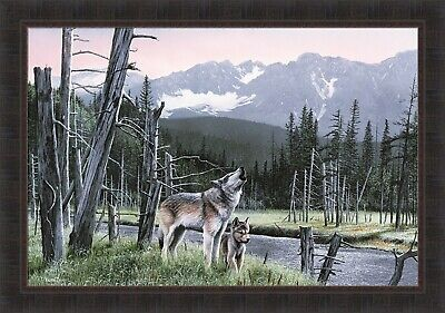 WILDLIFE ART PRINT  Stalking the Bluffs by Kevin Daniel Wolf Wolves Poster 26x18