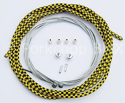 Bicycle 5mm LINED brake cable housing kit BMX MTB YELLOW and BLACK CHECKERBOARD