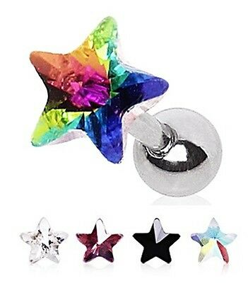 New Surgical Steel Gem Star Prism Tragus Helix Labret Cartilage Bar Stud