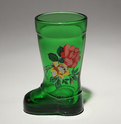"""Vintage Green Boot Toothpick Holder """"Wellie"""" With Floral Design 3.25"""" Tall"""