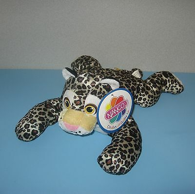 "New 14"" Long Funny Face Spotted Leopard Laying Out Stuffed Plush Animal"