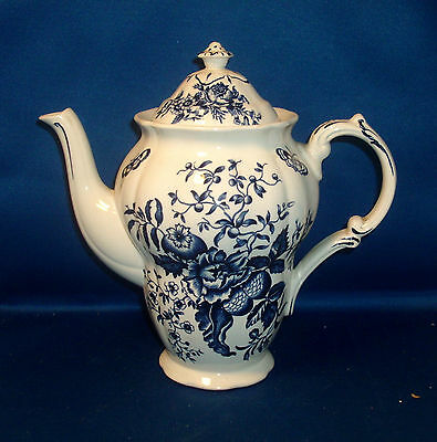 Booth English Porcelain Blue and White Peony Tea Pot Coffee Urn