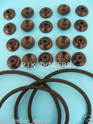 20 x Trailer Button Cleats with 6 Metres of 6mm Bungee Elastic Cord