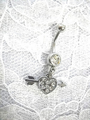 NEW 3D KOKOPELLI JOE FLUTE PLAYER GRAND CANYON PEWTER CHARM ON CLEAR BELLY RING