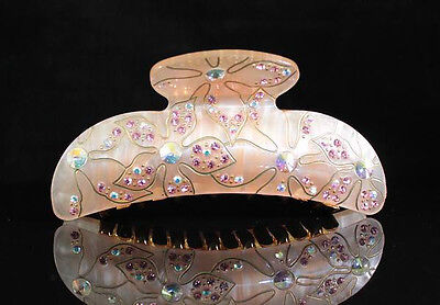 Mionne Floral Rhinestone Crystal Hair Clamp Claw Clip Barrette C1540 Pink