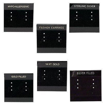 100 Black 2 inch Earring Display Cards w/Hanging Tab & Velveteen for 3 Pairs