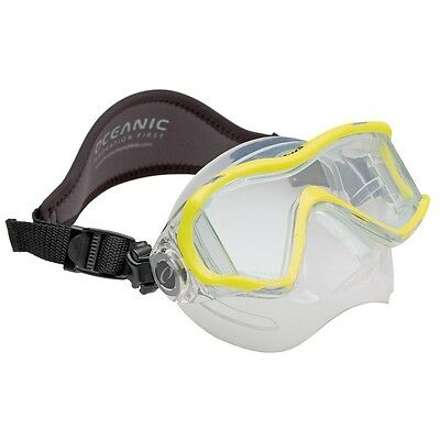 Oceanic Ion 3X Panoramic View Scuba Diving Mask with Neoprene Strap Neon Yellow