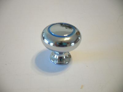 New Heavy Chrome KNOBS Light BLUE lines Circles Art Deco Style Amerock Pulls