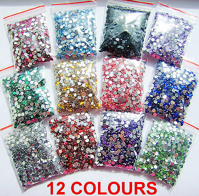 12 Colours 1000pcs Crystal Flat Back Acrylic Rhinestones Gems 3mm 4mm 5mm Craft