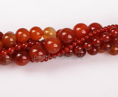 A strand (15'') Red Carnelian Natural Agate Gemstone Round Beads Brand New