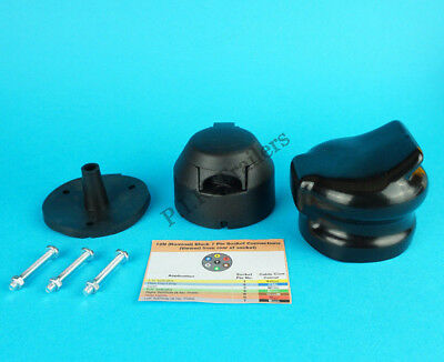Towing Socket with Brass Pins 7 Pin 12N with Rear Gasket Seal & Socket Cover