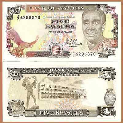 Zambia P30a, 5 Kwacha, eagle, butterfly, fish eagle / lion cub UNC $7 Cat Val