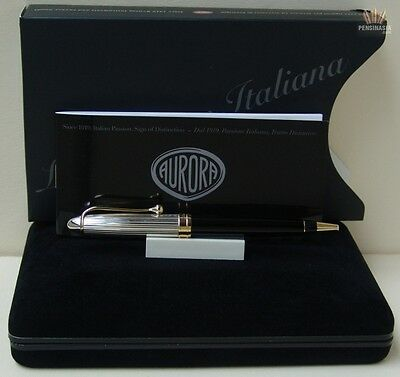 Aurora 88 Ottantotto Silver Linear Cap And Black Barrel With Gold Ball Point Pen