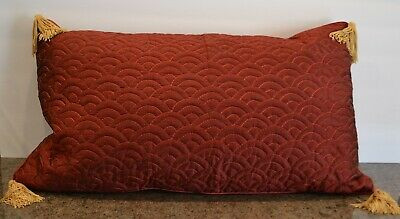 Yves Delorme Datura Red Quilted Oblong Silk Pillow