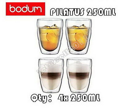 IN BOX BODUM PILATUS WAVE DOUBLE WALL CLEAR THERMO-GLASSES x4 250ML