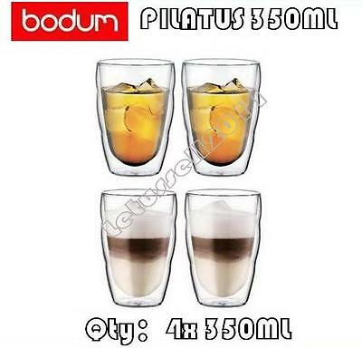 IN BOX BODUM PILATUS WAVE DOUBLE WALL CLEAR THERMO-GLASSES x4 350ML