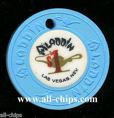 $1 Aladdin Drilled Old Obsolete Uncirculated but drilled Las Vegas Casino Chip