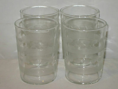 """4 Vintage Libbey Juice Glasses~Frosted Cut Stripes & Ovals~3 3/4"""" Tall~HTF~Nice!"""